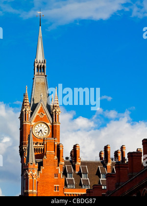 The clock tower of St Pancras Station and Marriott hotel in London England UK built in 1866 designed by George Gilbert - Stock Photo