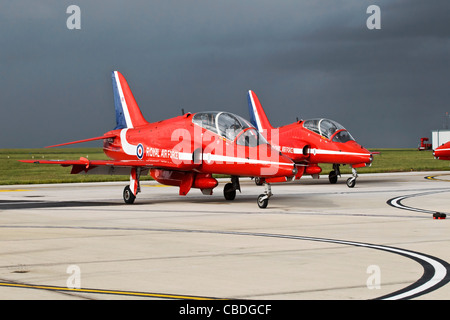 Bae Hawk of the RAF formation aerobatic team the Red Arrows - Stock Photo