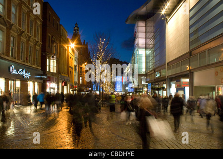Christmas Shoppers near The Arndale Centre on Market Street Manchester City Centre - Stock Photo