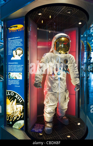 Space suit worn by James Lovell on  Apollo 13 moon mission, Saturn V complex, Kennedy Space Center, Merritt Island, - Stock Photo