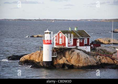 Lighthouse at entrance to Gothenburg Harbour, Gothenburg, Västergötland & Bohuslän Province, Kingdom of Sweden - Stock Photo