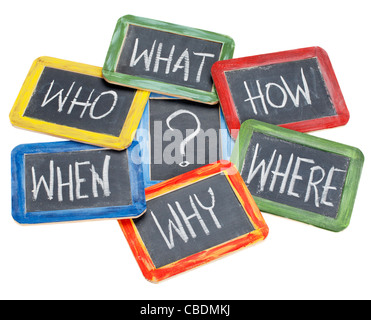 what, when, where, why, how, who questions - white chalk handwriting on vintage slate blackboards in colorful wood - Stock Photo