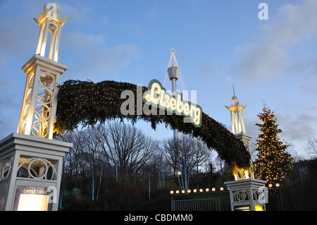 Entrance sign to Liseberg Christmas Market, Gothenburg, Västergötland & Bohuslän Province, Kingdom of Sweden - Stock Photo