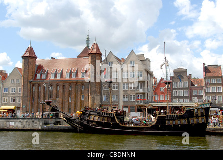 Historic vessel for sightseeing moored at the Motlawa river quay of Stare MIasto, the old town of Gdansk, Danzig, - Stock Photo
