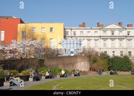 Garden-side facade of Dublin Castle, Dublin, Ireland - Stock Photo
