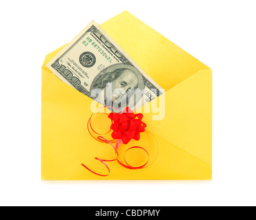 Money as a gift with red bow and yellow envelope - Stock Photo