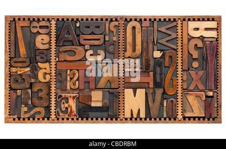 vintage letterpress printing blocks abstract with variety of letters numbers punctuation signs in old