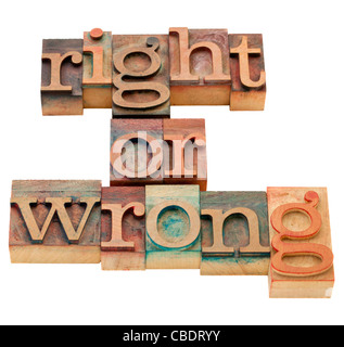 right or wrong ethical choice dilemma - isolated vintage wood letterpress printing blocks - Stock Photo