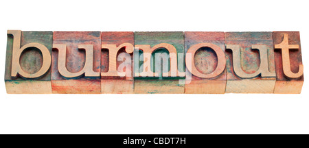burnout - isolated word in vintage wood letterpress printing blocks - Stock Photo
