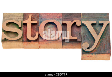 story - isolated word in vintage wood letterpress printing blocks - Stock Photo