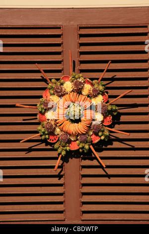 Christmas Wreath, Colonial Williamsburg, Virginia, USA - Stock Photo