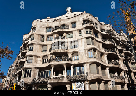 Casa Milà, La Pedrera, architect Antoni Gaudi, Passeig de Gracia, Eixample, Barcelona, Catalonia, Spain, Europe, - Stock Photo