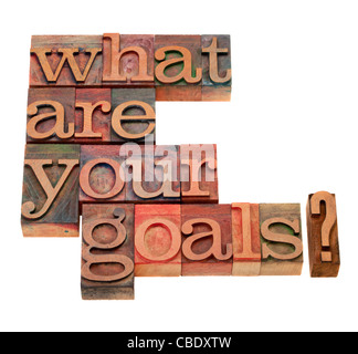 what are your goals question in vintage wooden letterpress printing blocks, stained by color inks, isolated on white - Stock Photo