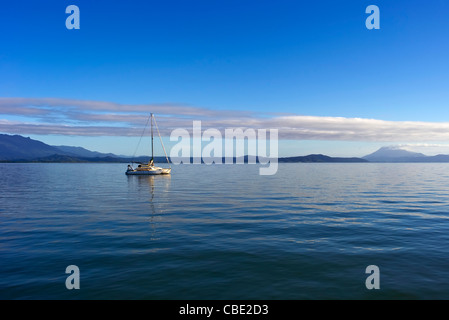 Yacht moored in the Whitsunday Islands North Queensland Australia - Stock Photo