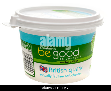 250 gram tub of Sainsburys be good to yourself British Quark low fat soft cheese - Stock Photo