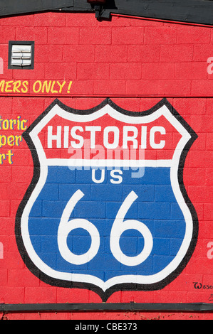 Historic Route 66 traffic Sign National Highway Arizona American - Stock Photo