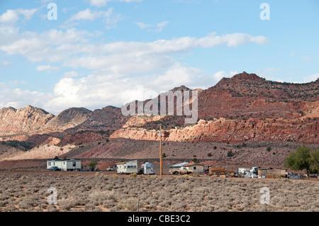 Village Mobile Home Trailer Park near Page Arizona United States - Stock Photo