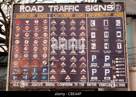 India, Arunachal Pradesh, East Siang District, Pasighat, english language, road safety hoarding explaining road - Stock Photo