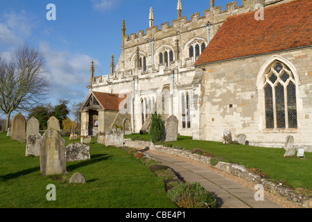 St Peter's church in Wootten Wawen said to be the oldest in Warwickshire - Stock Photo