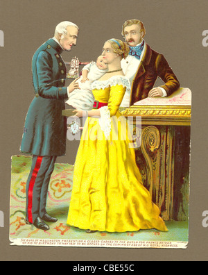 Chromolithographed die cut scrap of the Duke of Wellington in 1851 presenting a casket to Queen Victoria - Stock Photo