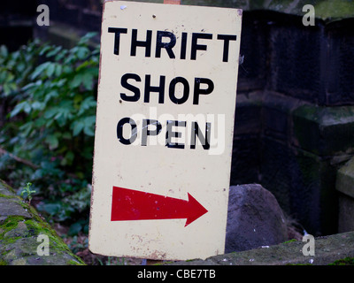 Thrift Shop Open Sign, Leven, Scotland - Stock Photo