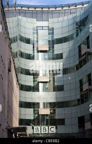 Modern section of Broadcasting House on Langham Place in London UK - Stock Photo