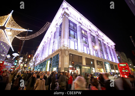 selfridges department store on oxford street christmas shopping london england united kingdom uk - Stock Photo
