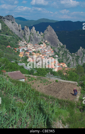A woman works in her land. Castelmezzano, Italy - Stock Photo