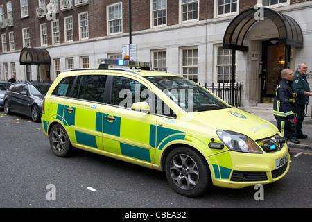 nhs london ambulance service paramedic fast reponse vehicle at an incident in london england uk united kingdom