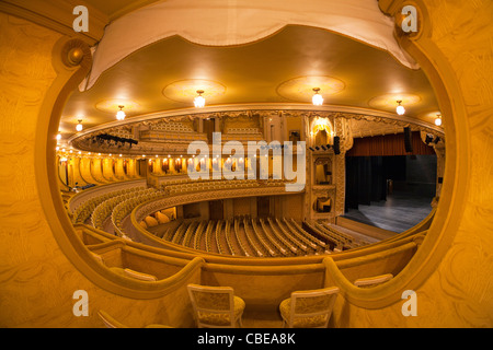 An inner view of the Vichy's opera house (Art Nouveau style). France Vue intérieure de l'opéra de Vichy (Palais - Stock Photo