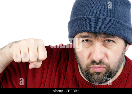Violence concept: tough bearded guy throwing a punch at the camera during a fist fight, isolated on white, great - Stock Photo