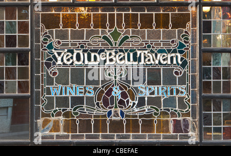 Stained glass window of Ye Olde Bell Tavern, London, UK - Stock Photo
