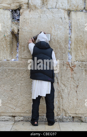 Jew praying at the Western Wall. Jerusalem Old City. israel - Stock Photo