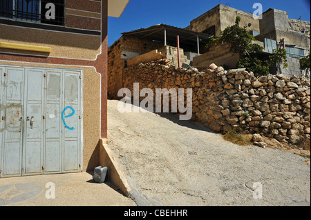 Marking of the Israeli colonists during their violent comings in the Palestinian villages., The 'E' which means - Stock Photo