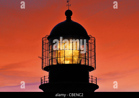 Portugal, Algarve: Sundown at the lighthouse of Cape Saint Vincent - Stock Photo