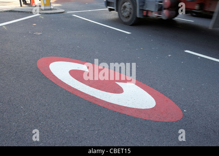 congestion charge sign on the road in central london england uk united kingdom - Stock Photo
