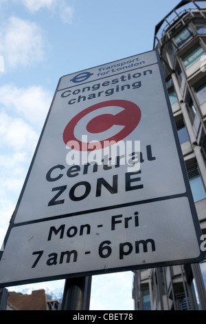 congestion charge central zone sign in central london england uk united kingdom - Stock Photo