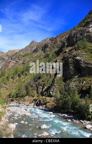 Italy, Aosta Valley, Gran Paradiso National Park, Grand Eyvia River, - Stock Photo