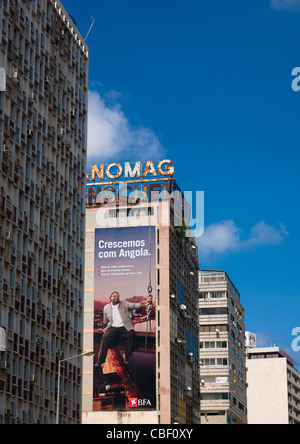 Huge Hoarding On A Housing Building Facade In Luanda, Angola - Stock Photo