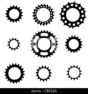 bicycle freewheel cogs (sprockets, gears) of various types and sizes - Stock Photo