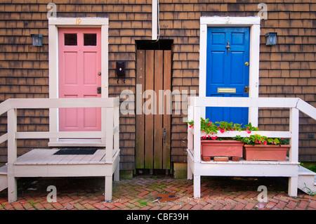 House doors on Fleet Street,Historic Downtown Annapolis Maryland MD USA - Stock Photo
