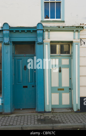 Front doors Nos 15 and 16 in Kington Herefordshire England UK - Stock Photo
