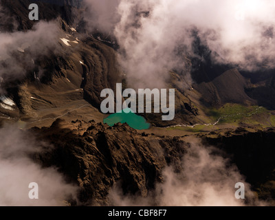 An aerial view of the hidden glacier lake high up in the Chugach Mountains in Alaska USA - Stock Photo