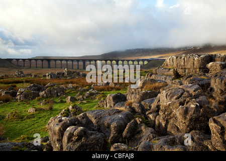 Ribblehead , at the head of Ribblesdale on the Settle Carlisle Railway Line, in North Yorkshire , Northern England, - Stock Photo