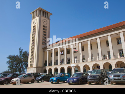 Cars Parked In Front Of The Main Building Of Luanda Harbour, Angola - Stock Photo