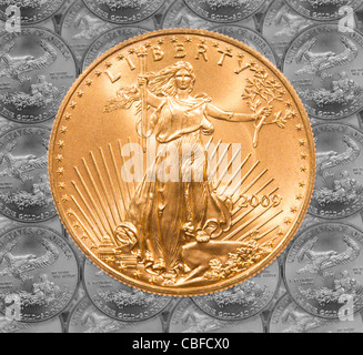 Black and white rendition of Gold Eagle one ounce coins in a patterns and stacked on each row with a single Liberty coin on the top