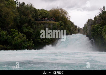 Spectacular Huka Falls on the Waikato River with its rock face cliffs is one of New Zealand's most visited natural - Stock Photo