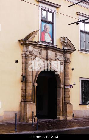 Papal Window at the Bishop's Palace, Franciszkanska, Krakow - Stock Photo