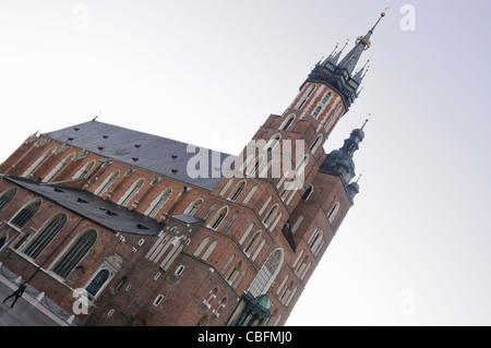 St Mary's Basilica, Rynek Glowny, Krakow, Poland - Stock Photo