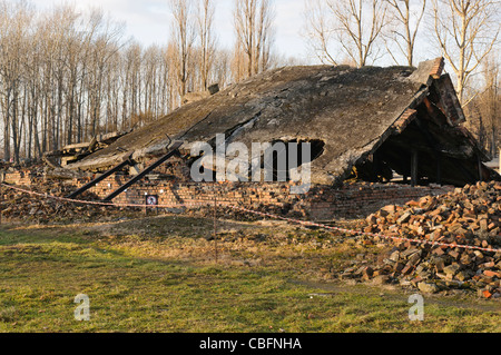 Remains of the number 1 gas chamber and crematorium at Auschwitz II Berkenau WW2 Nazi concentration camp after it - Stock Photo